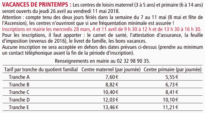 Inscrip Centre Loisir 2018